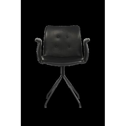 BENT HANSEN PRIMUM CHAIR - stol / sort fast stel med armlæn
