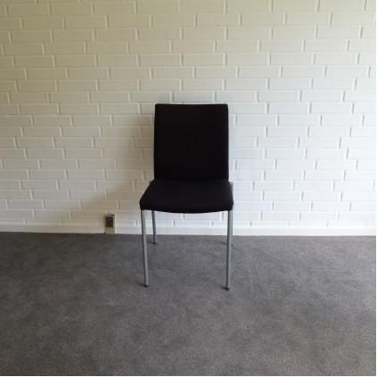 EFG mødestol sort stof med alu stel, KUN AFHENTNING