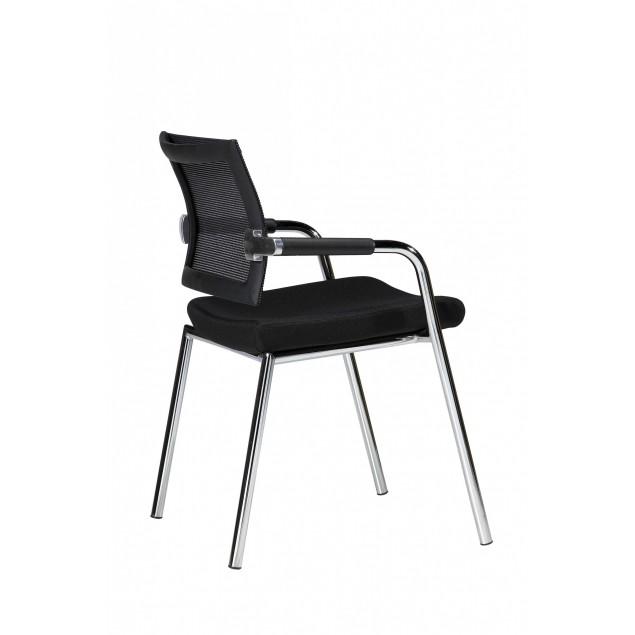 DENCON Skin mødestol 31005 sort stof, krom stel med armlæn