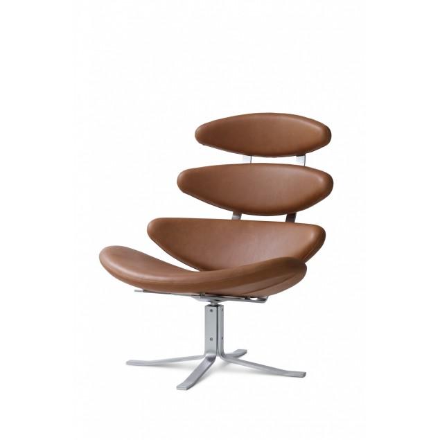 Corona stol med Cava læder. Sort eller valnød.