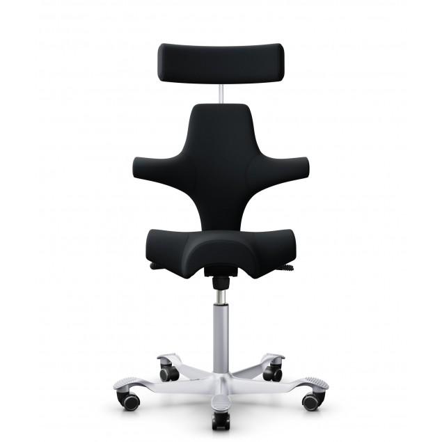 HÅG Capisco 8107 kontorstol med nakkestøtte, sort Select betræk. Det stærkeste og mest solgte stof.