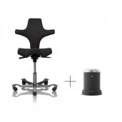 Pakketilbud. HÅG Capisco 8106 kontorstol med sort fame betræk. Inkl VIPP spand eller toiletbørste.