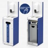 Stander til håndsprit, handsker, mundbind og/eller vådservietter med affaldsspand indbygget